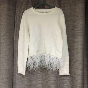English Factory feather fringe sweater size M